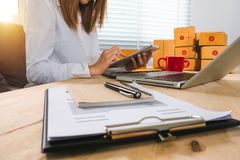 Business online shopping. In home office royalty free stock photo