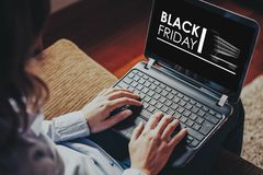 Black Friday advertisement in a laptop screen. Royalty Free Stock Photos