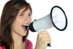 Woman using megaphone Stock Photos