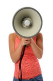 Woman Using Megaphone Stock Images