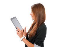 Woman using mobile bank with electronic tablet tou Royalty Free Stock Photos