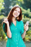 Woman using mobile Stock Photo