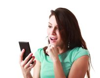 Woman using mobile Royalty Free Stock Images