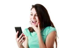 Woman using mobile Stock Photo