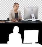 Woman Using Mobile Phone At Desk, Alpha Channel stock photos