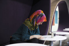 Woman Using Mobile Phone During Office Break Time Social Media. Woman Using Mobile Phone During Office Break Stock Photography
