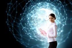 Woman using modern technologies Stock Photos