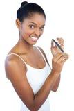 Woman using nail file stock photo
