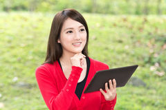 Woman using pad Royalty Free Stock Photo