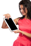 Woman using pc tablet with blank empty screen. Royalty Free Stock Photo