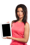 Woman using pc tablet with blank empty screen. Stock Images