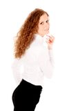 Woman using perfume Royalty Free Stock Images