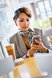 Woman Using Phone stock image