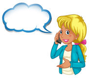 A woman using a phone with an empty cloud template Royalty Free Stock Photos
