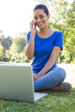 Woman using phone in park Royalty Free Stock Image
