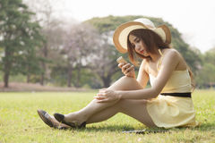 Woman using a phone Royalty Free Stock Photos