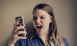 Woman using phone stock photo