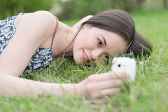 Woman using phone Royalty Free Stock Image