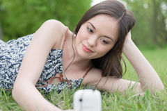 Woman using phone Stock Photography