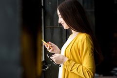 Woman using phone Royalty Free Stock Photo