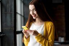 Woman using phone stock photos