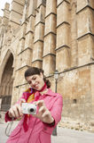 Woman Using Photo Camera Sightseeing Stock Photo