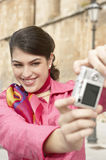 Woman Using Photo Camera Sightseeing Stock Photos