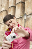 Woman Using Photo Camera Sightseeing Royalty Free Stock Images