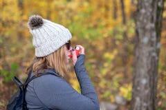 Using inhaler outdoor royalty free stock image