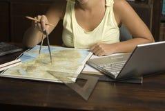 Woman Using Protractor - Horizontal Royalty Free Stock Photo