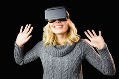 Woman using reality virtual headset Royalty Free Stock Photography
