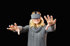 Woman using reality virtual headset Stock Photo