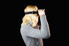 Woman using reality virtual headset Stock Image