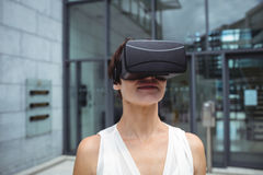 Woman using reality virtual headset Stock Images