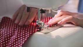 Woman Using a Sewing Machine stock video