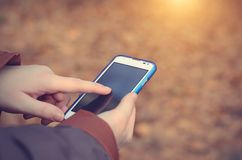 Woman using smart phone Royalty Free Stock Photography