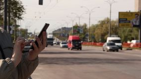 Woman Using Smart Phone In Outdoor stock video