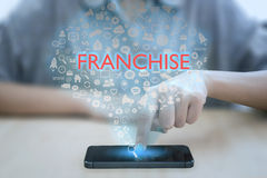 Woman using smart phone pressing button franchise icon. Royalty Free Stock Photo