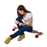 Woman using smart phone Royalty Free Stock Images