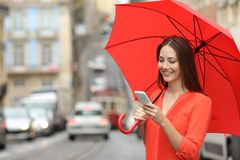 Woman using a smart phone under the rain. Happy woman using a smart phone holding an umbrella under the rain in the street Stock Photos