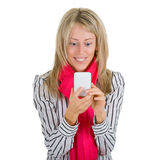 Woman using a smartphone Royalty Free Stock Images