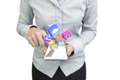 Woman using smartphone finger touching screen color app icons. Woman using smart phone with finger touching screen and color app icons, front view, isolated on Stock Photo