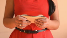 Woman using smartphone. stock footage