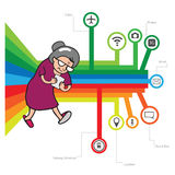 Woman using smatphone old. Smartphone addicted old woman vector Royalty Free Stock Image