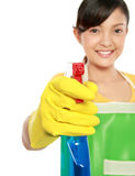 Woman using spray cleaning tool Stock Photo