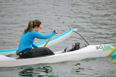 Woman Using a Stabilizer Float on her Kayak Royalty Free Stock Photo