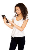 Woman using tablet computer. Stock Photo
