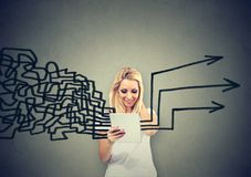 Woman using tablet computer getting her thoughts together planning Royalty Free Stock Image