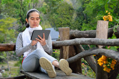Woman using tablet computer Stock Photos