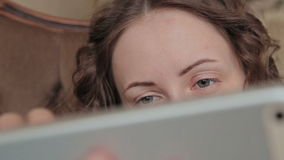 Woman using tablet stock video footage